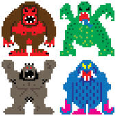 Worse nightmare terrifying monsters pixel art — Stok Vektör