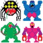 Worse nightmare terrifying monsters pixel art — Stock Vector