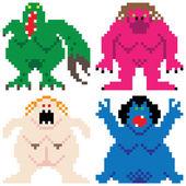 Worse nightmare terrifying monsters retro computer pixel art — Stock Vector