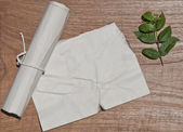 Ancient crumpled paper scroll on wood table with green leaf for background — Foto Stock
