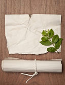 Ancient crumpled paper scroll on wood table with green leaf for background — 图库照片