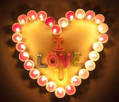 Candles light with word I love you for romantic Background — Photo