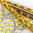 SMD LED-strip also G4 LED-bulbs and separate chips - Stock Photo