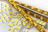 SMD LED-strip also G4 LED-bulbs and separate chips — Stock Photo