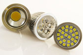 Various LEDs bulb GU10 with cooling and different SMD chips — Stock Photo