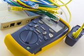 Cable tester troubleshoots and qualifies cabling speed — Stock Photo
