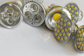 GU10 LED bulbs with different beam guidelines — Stock Photo