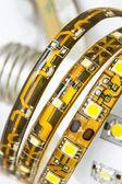 Led strips on the bulb with E27 thread — Stock Photo