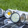 Stock Photo: Various LED GU10 bulbs on photovoltaics