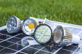 Various LED GU10 bulbs on photovoltaics — Stock Photo