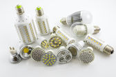 LED lamps GU10 and E27 with a different chip technology also co — Stock Photo