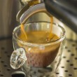 Preparing a strong espresso cofffe with a coffee machine — Stock Photo