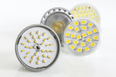 Four various versions of LED bulbs for GU10 and MR16 — Stock Photo