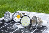Various GU10 LED bulbs on photovoltaics in the grass — Stock Photo