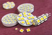 Separate and fixed various SMD LED chips on G4 bulbs — Stock Photo