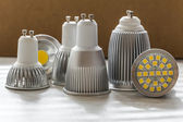 Different sizes of cooling for LED GU10 bulbs — Stock Photo