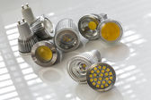 GU10 LED bulbs with different light-emitting chips — Stock Photo