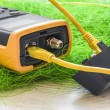 Network tester for connectors with yellow RJ45 cable 5e connect — Stock Photo #50526893