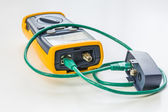 Network tester with green RJ45 cable 5e connected for testing — Foto Stock