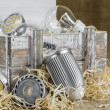 GU10 LED bulbs on straw in front of old delivery wooden box with — Stock Photo #51000813
