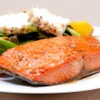 Salmon with goat cheese and beet salad - Stock Photo