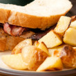 Bacon and chicken sandwich on fresh french bread with mayo and pepper and hashbrowns on the side — Stock Photo