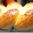 Golden brown home made challah egg bread and buns - Stok fotoğraf