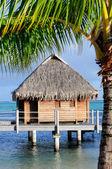Tahiti over-water vacation bungalow — Stock Photo
