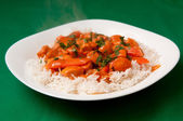 Indian butter chicken sauce with rice and sliced carrots — Stock Photo