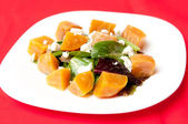 Beet salad with goat's cheese — Stock Photo