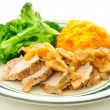 Sliced pork tenderloin medallions with apple sauce, sweet potato — Stock Photo