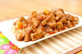 Sweet and sour pork with ricex — Stock Photo