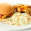 Juicy hamburger with hand cut fries and cole slaw — Stock Photo