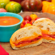 Home made tomato soup with a grilled cheese and tomato sandwich — Stock Photo #34686009