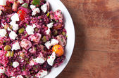 Beet salad with quinoa and chicken. A protein rich, healthy meal — Stock Photo