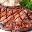 Juicy bbq rib steak with garlic mashed potatoes and brocolli — Stock Photo #50909599