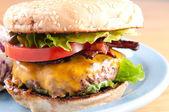 Bacon cheeseburger with coleslaw — Foto de Stock
