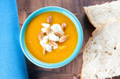 Squash soup with bread and toasted seeds — Stok fotoğraf