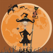 Witch and full moon — Stock Vector
