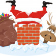 Santa claus, chimney and reindeer — Stock Vector