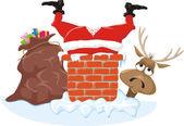 Санта Клаус, трубы и оленей — Cтоковый вектор