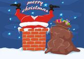 Santa in the chimney - merry christmas — Stock Vector