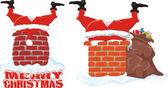 Santa in the chimney — Stock Vector