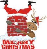 Merry christmas - santa and reindeer — Stock Vector