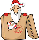 Santa sent in a package — Stock Vector