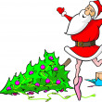 Lost in dancing santa claus - demolished christmas — Stock Vector