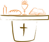 Holy communion - altar and religious symbols — Vector de stock