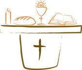 Comunión - altar y símbolos religiosos — Vector de stock