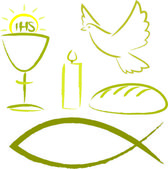 Holy communion - religious symbols — Stock Vector