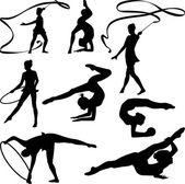 Rhythmic gymnastics - silhouette — Stock Vector